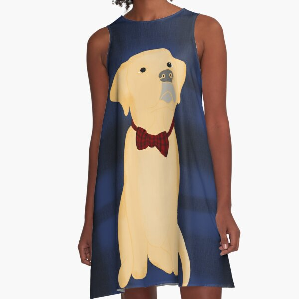 Yellow Lab Puppy In Plaid A-Line Dress