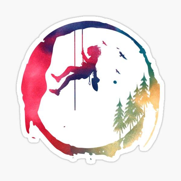 Grimpeur, grimpeur, aventurier, femme. Sticker