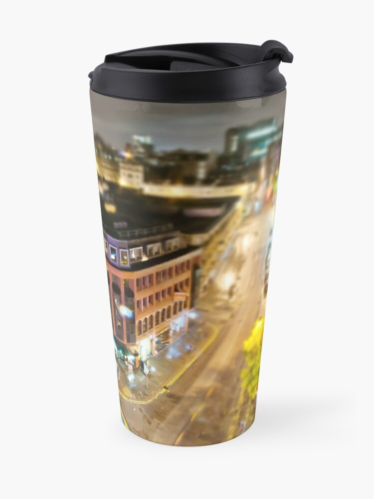 Alternate view of Bright lights of Manchester, tilt and shift. Travel Mug