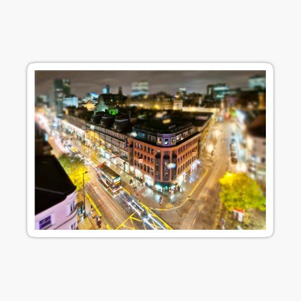 Bright lights of Manchester, tilt and shift. Sticker