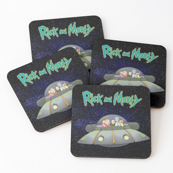 Rick and Morty - Family together flying spaceship Coasters (Set of 4)