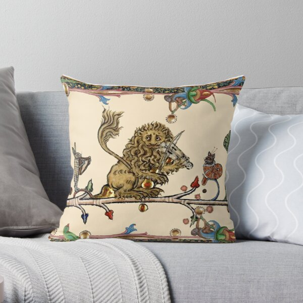 WEIRD MEDIEVAL BESTIARY MAKING MUSIC Violinist Lion,Hare And Snail Cat Throw Pillow