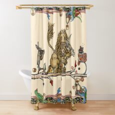 WEIRD MEDIEVAL BESTIARY MAKING MUSIC Violinist Lion,Hare And Snail Cat Shower Curtain