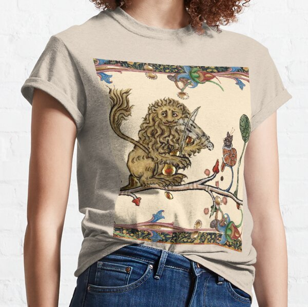 WEIRD MEDIEVAL BESTIARY MAKING MUSIC Violinist Lion,Hare And Snail Cat Classic T-Shirt