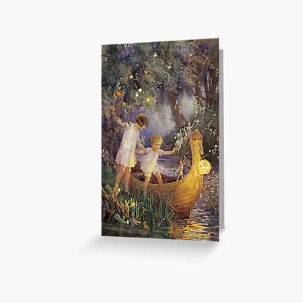 """""""The Boat To Fairyland"""" by Margaret Tarrant Greeting Card"""