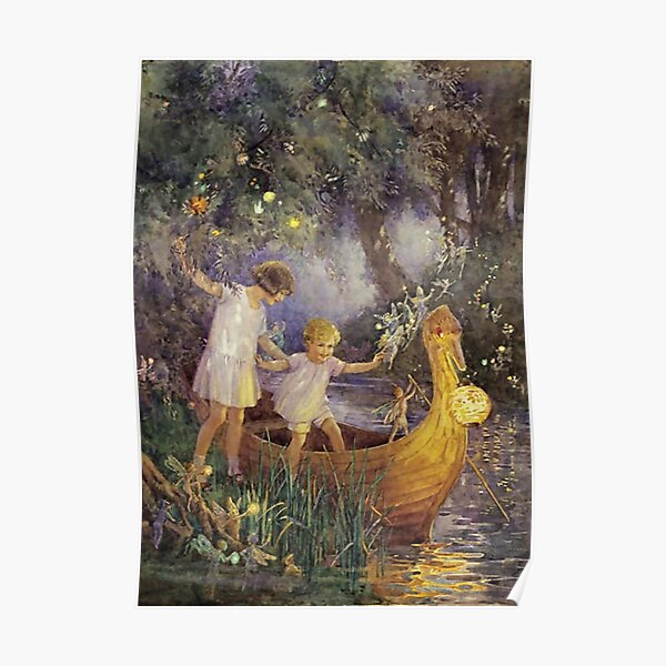"""""""The Boat To Fairyland"""" by Margaret Tarrant Poster"""