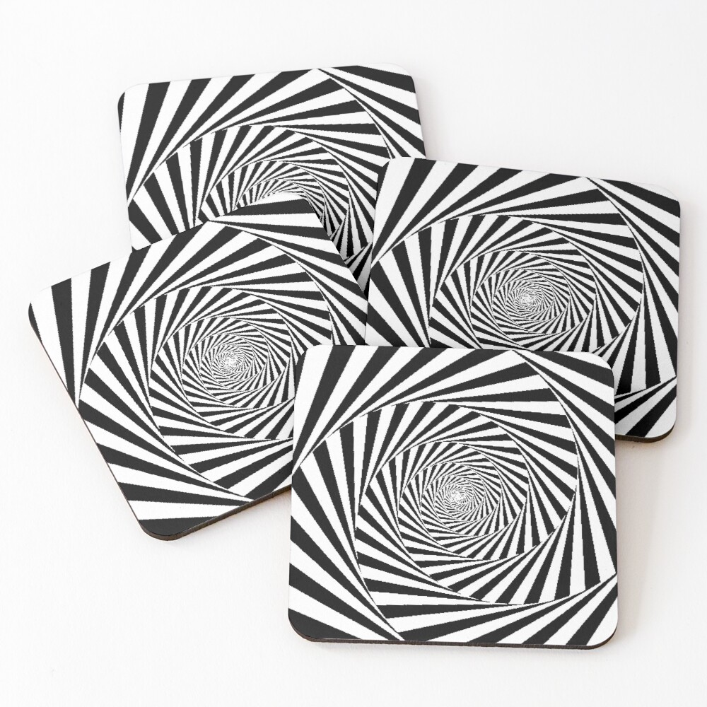 Optical Illusion Beige Swirl,  ur,coaster_pack_4_flatlay,square,1000x1000