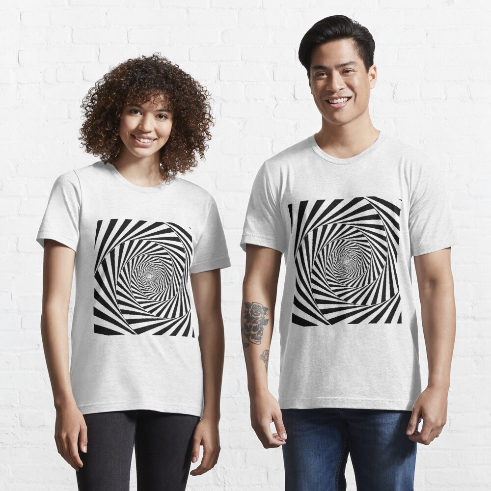 Optical Illusion Beige Swirl,  ssrco,slim_fit_t_shirt,two_model,fafafa:ca443f4786,front,square_three_quarter,1000x1000