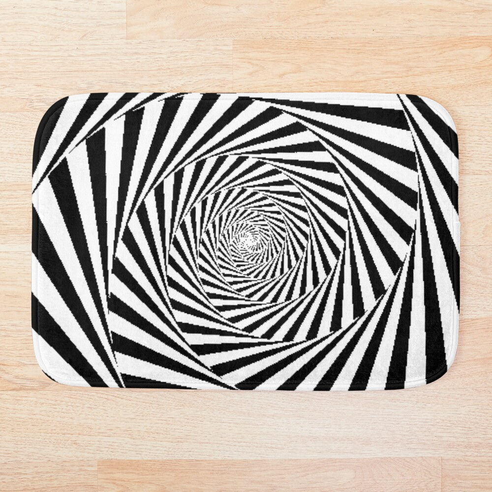 Optical Illusion Beige Swirl,  ur,bathmat_flatlay_small,square,1000x1000