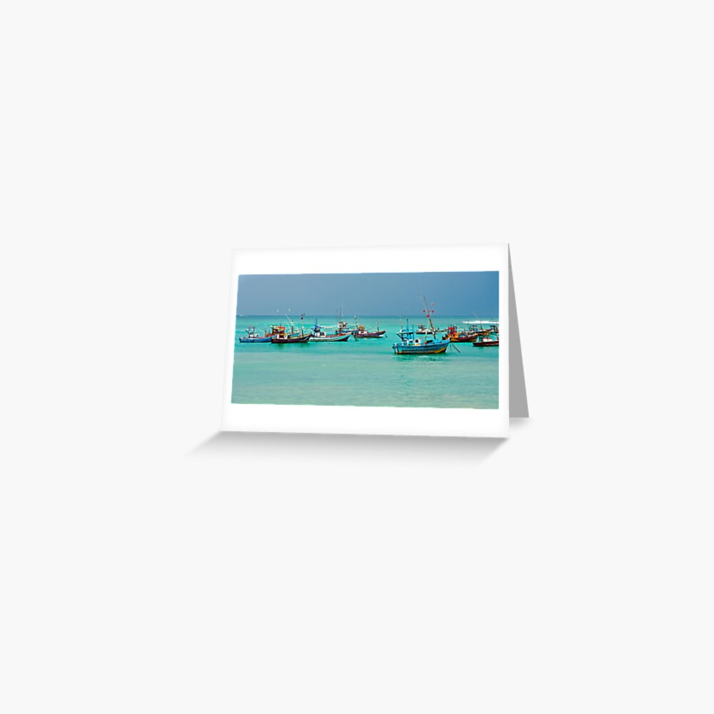Colourful Fishing Boats Greeting Card