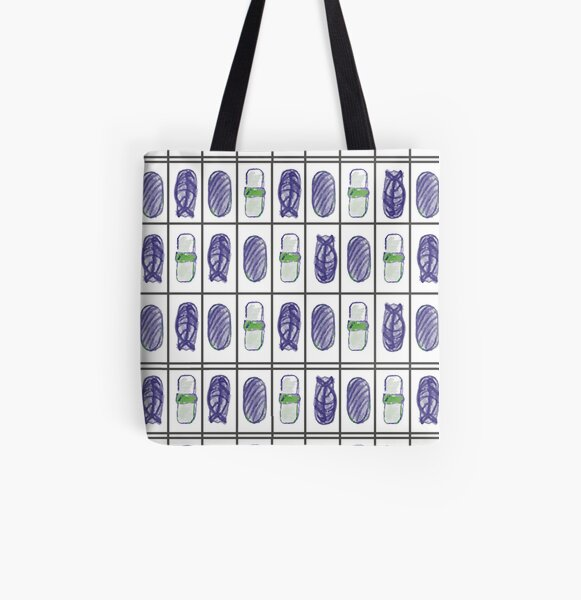 Sushi blue All Over Print Tote Bag