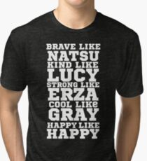 Fairy Tail Logo Brave Like Natsu Dragneel Erza Scarlet Lucy Heartfilla Gray Fullbuster Anime Cosplay T Shirt Tri-blend T-Shirt