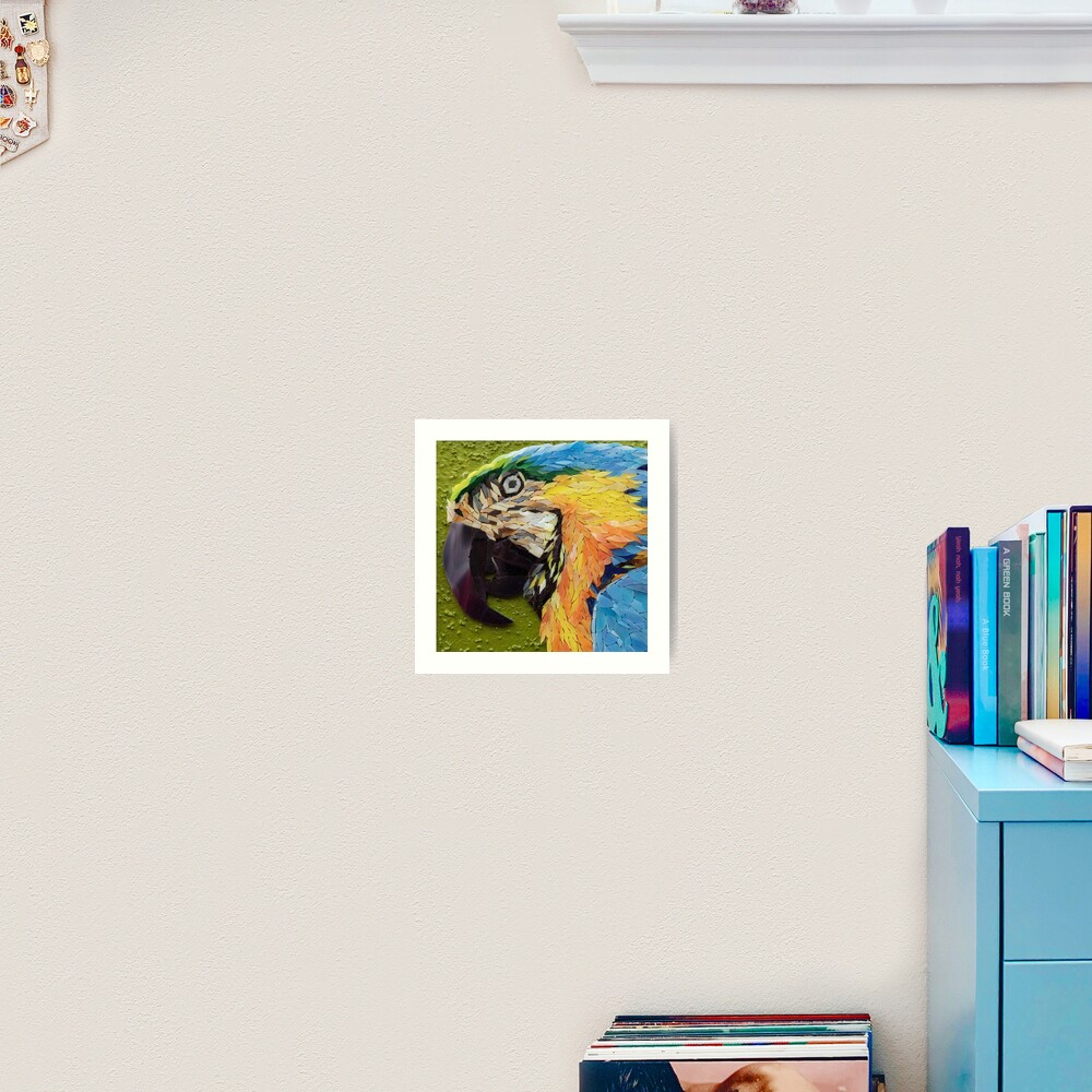 Mackey, the yelow and blue macaw, mosaic Art Print