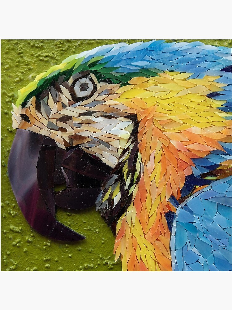 Mackey, the yelow and blue macaw, mosaic by AdrianaZoon