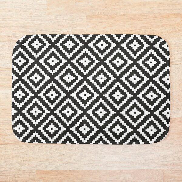 Aztec - White on Black Bath Mat