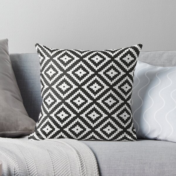 Aztec - White on Black Throw Pillow