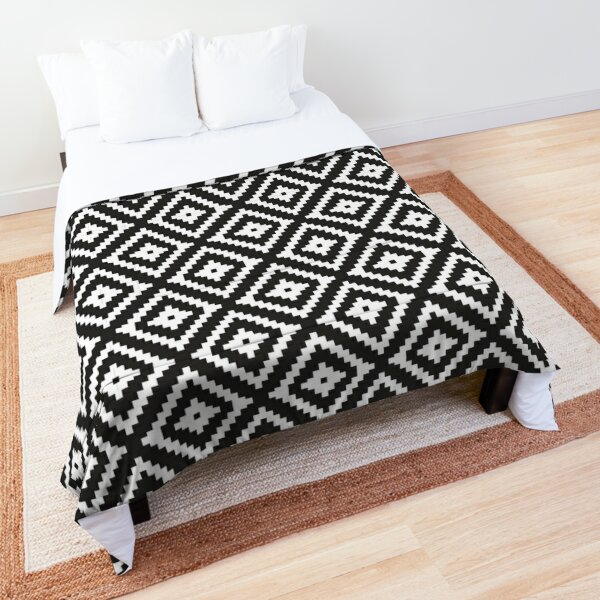Aztec - White on Black Comforter