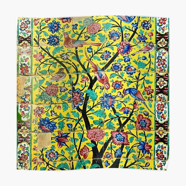 Persian Flowers and Birds Tile Mosaic, Shiraz, Iran Poster