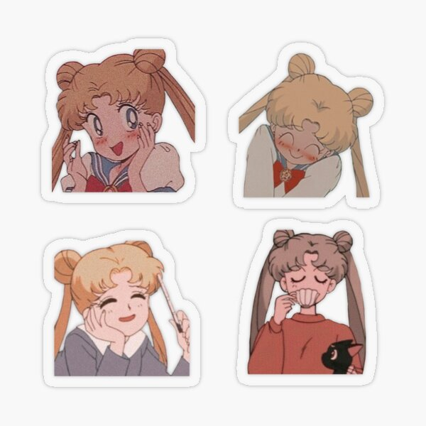 Lot de 4 autocollants Sailor Moon Sticker transparent