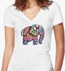 Tattoo Elephant Women's Fitted V-Neck T-Shirt