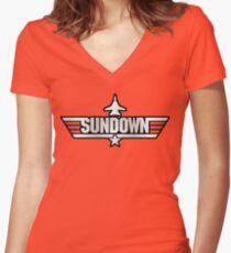 Top Gun Sundown (with Tomcat) Women's Fitted V-Neck T-Shirt