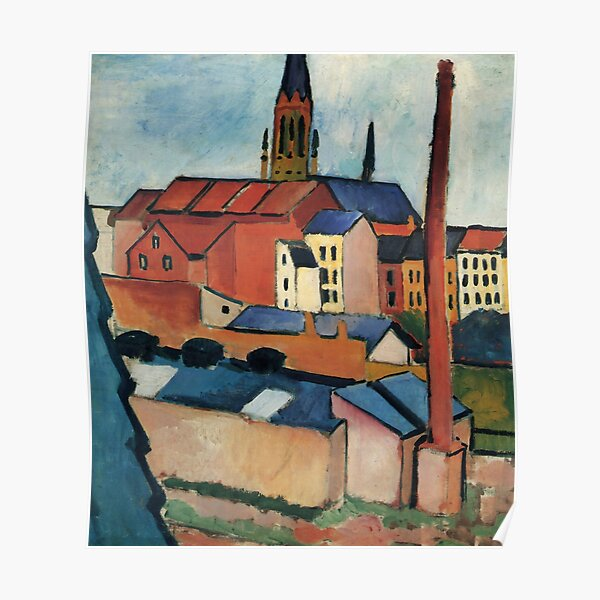 August Macke - St. Mary's with Houses and Chimney (Bonn) Poster