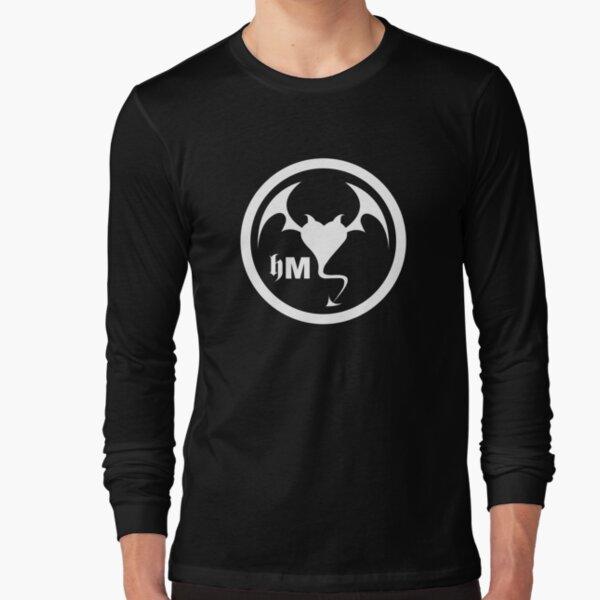 Hollywood Monsters Circle Bat Logo - WHITE PRINT Long Sleeve T-Shirt