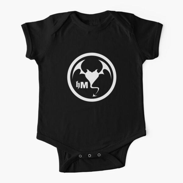 Hollywood Monsters Circle Bat Logo - WHITE PRINT Short Sleeve Baby One-Piece
