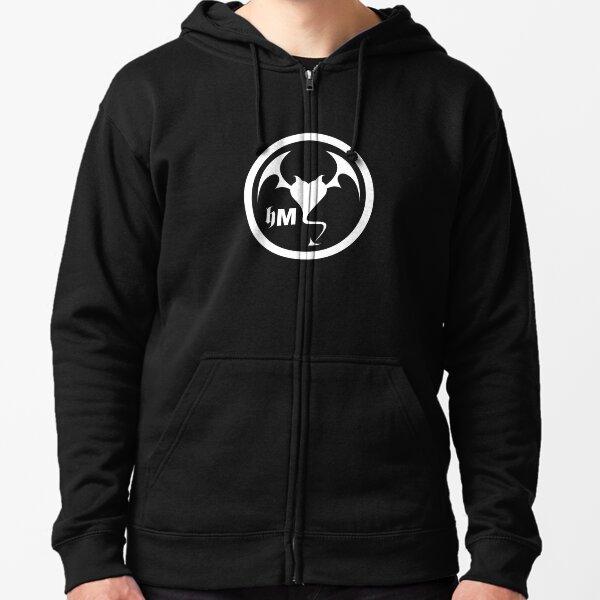 Hollywood Monsters Circle Bat Logo - WHITE PRINT Zipped Hoodie