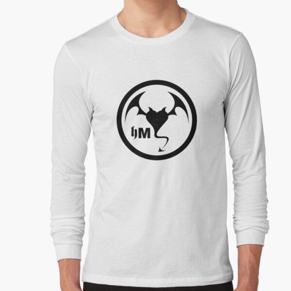 Hollywood Monsters Circle Bat Logo - BLACK PRINT Long Sleeve T-Shirt