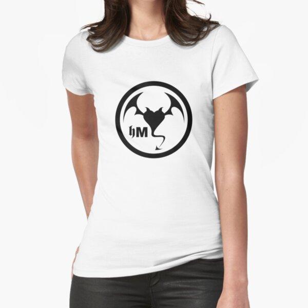 Hollywood Monsters Circle Bat Logo - BLACK PRINT Fitted T-Shirt