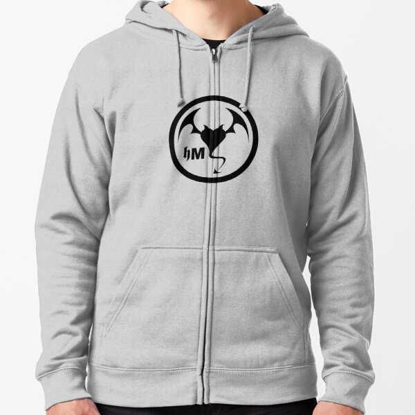 Hollywood Monsters Circle Bat Logo - BLACK PRINT Zipped Hoodie