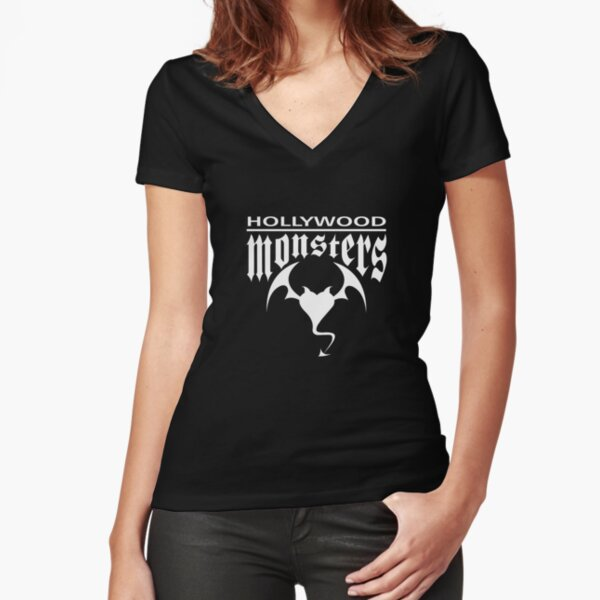 Hollywood Monsters Text Bat Logo - WHITE PRINT Fitted V-Neck T-Shirt