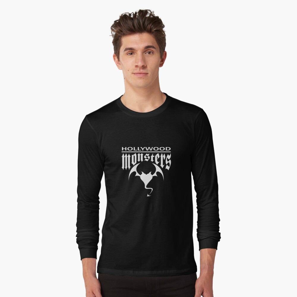 Hollywood Monsters Text Bat Logo - WHITE PRINT Long Sleeve T-Shirt