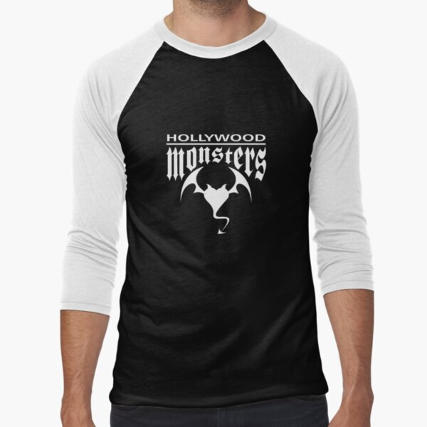 Hollywood Monsters Text Bat Logo - WHITE PRINT Baseball ¾ Sleeve T-Shirt