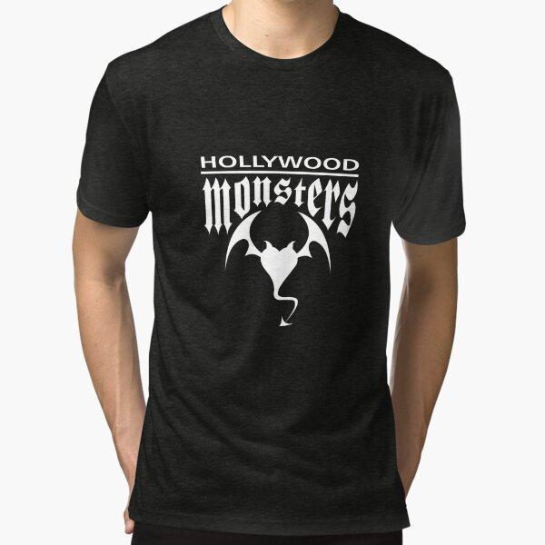Hollywood Monsters Text Bat Logo - WHITE PRINT Tri-blend T-Shirt