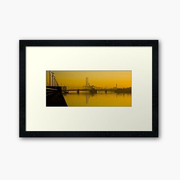 Dublin's Poolbeg Towers around Sunrise Framed Art Print