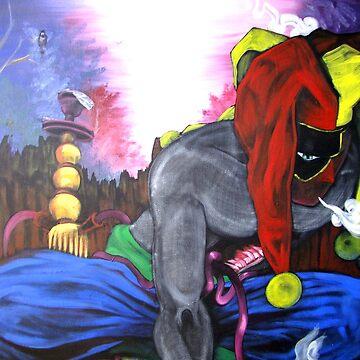 """ Jester's Hookah- Contemporary Art Figure "" by nique"