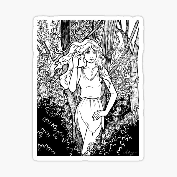 Dryad in a forest Sticker