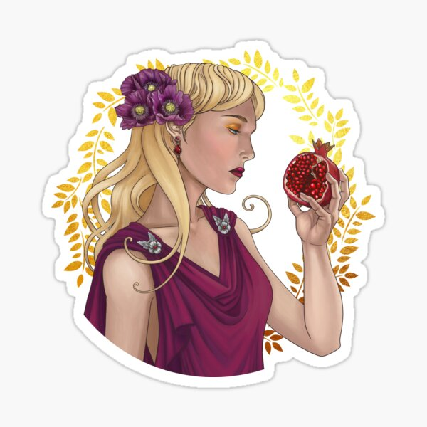 Persephone with pomegranate Sticker