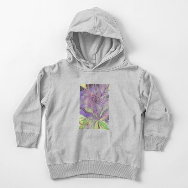 Purple Flower Acrylic Fluid Art Toddler Pullover Hoodie