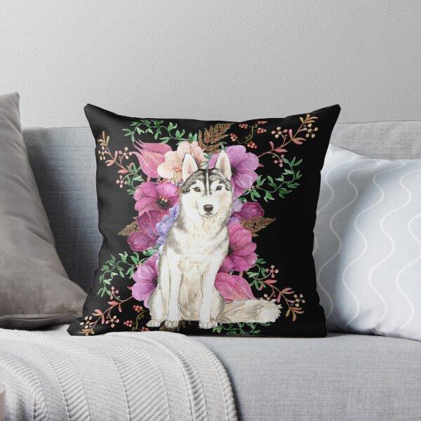 Siberian Husky Floral Watercolor Art Throw Pillow