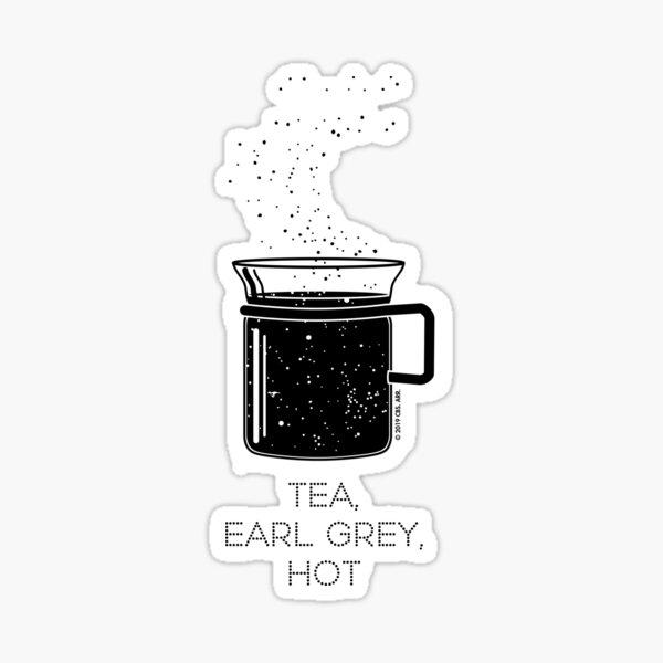 Tea, Earl Grey, Hot - Captain Picard, Star Trek TNG, Star field (light backgrounds) Sticker