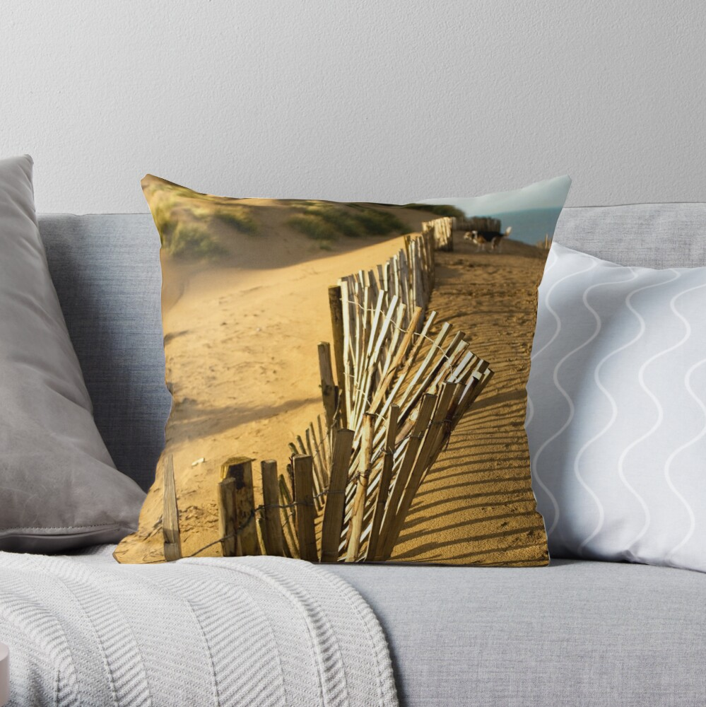Fence at Formby Beach Throw Pillow