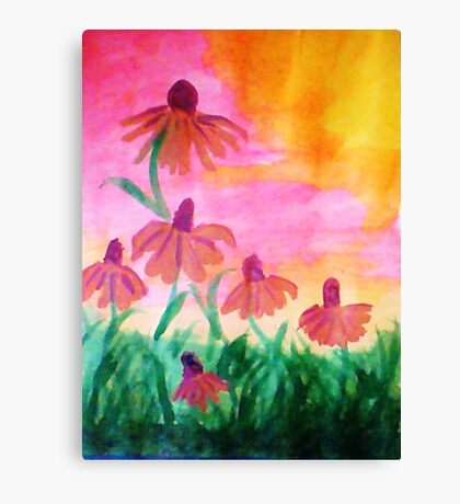 Daisys enjoying a warm dawn, watercolor Canvas Print