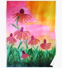 Daisys enjoying a warm dawn, watercolor Poster