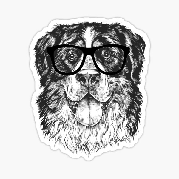 Hipster Bernese Mountain Dog Line Drawing Sticker