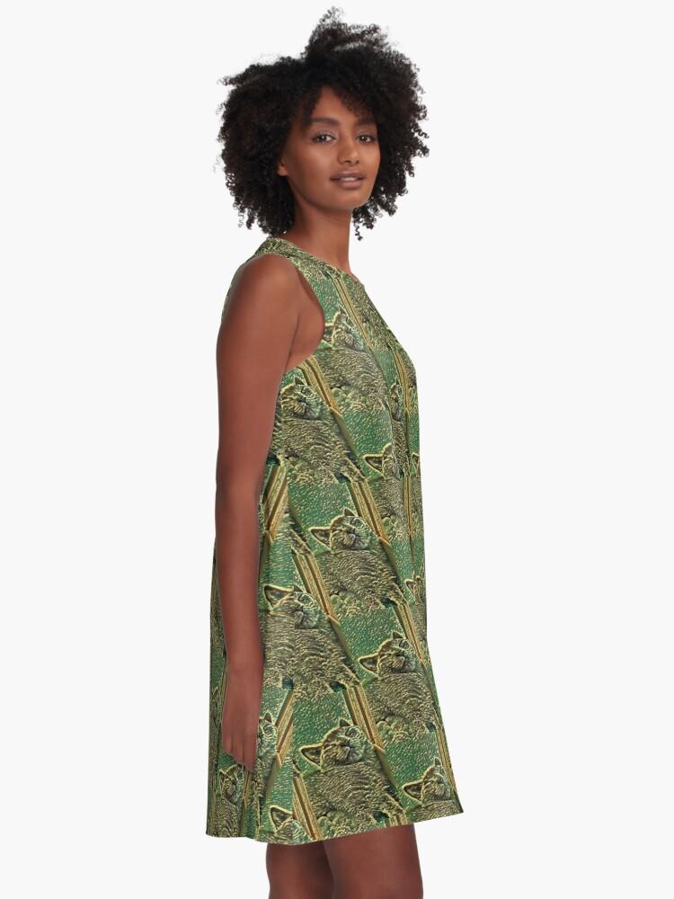 Alternative Ansicht von SCHLAFENDE KATZE A-Linien Kleid