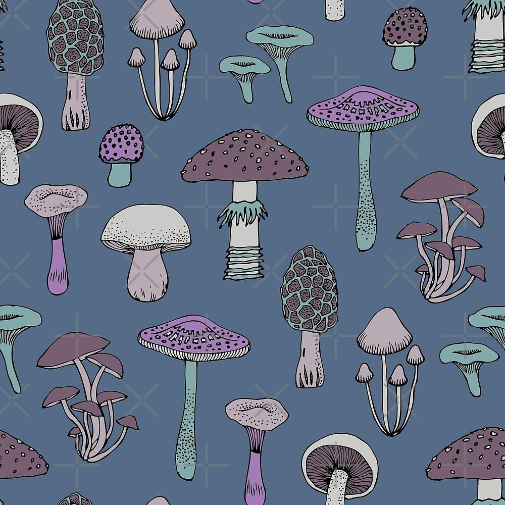 Midnight Mushrooms - Grey - fun fungus pattern by Cecca Designs by Cecca-Designs