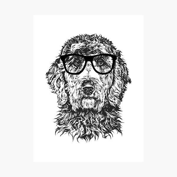 Hipster Doodle Dog Line Drawing Photographic Print